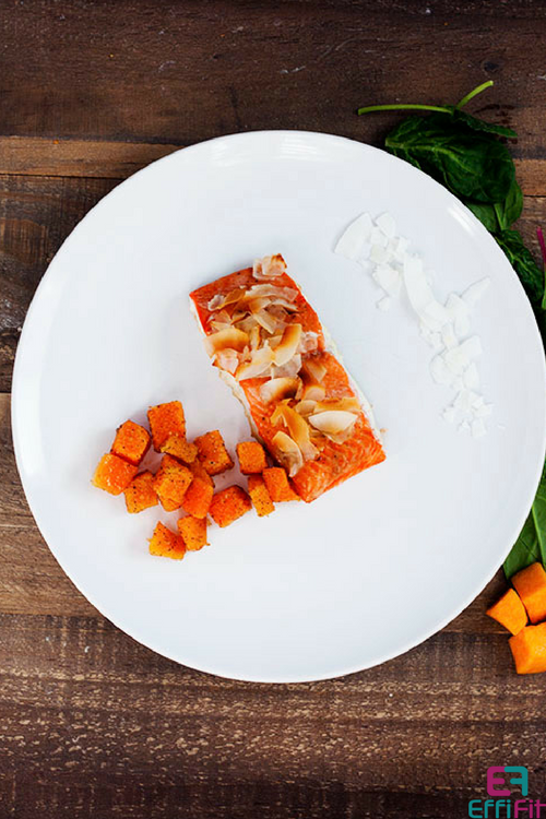Honey Coconut Salmon and Roasted Butternut Squash 1 Pan Dinner