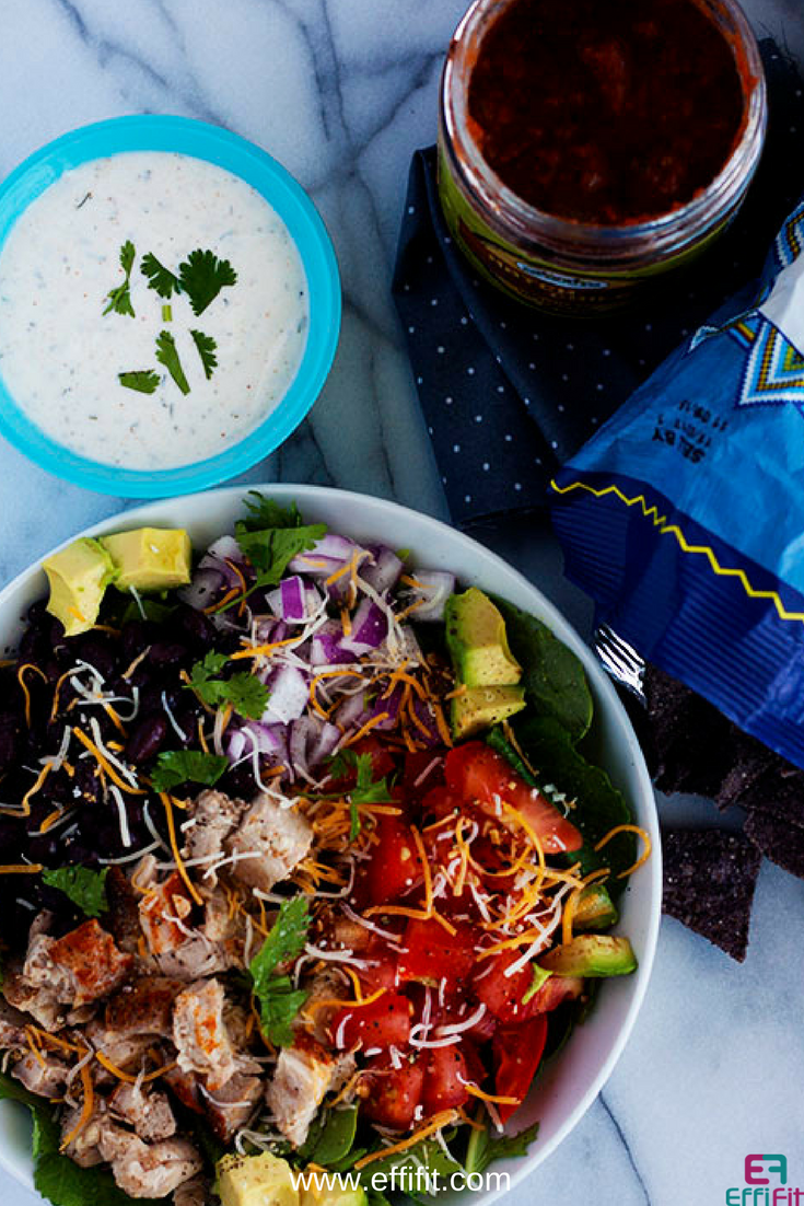 Chicken Taco Salad with Cilantro Ranch Dressing