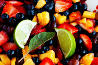 Honey Lime Fruit Salad with Basil