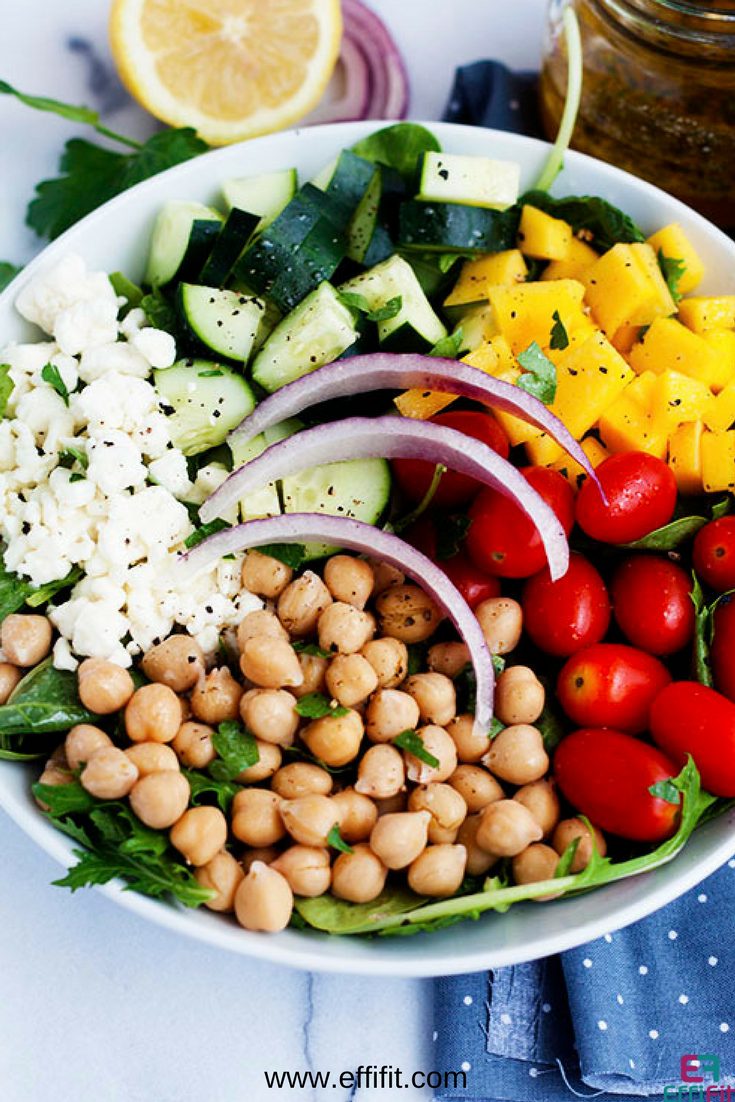 Quick Mango Chickpea Salad with Feta Cheese